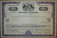 USA - McDonald's Corporation - Bond for $1000 1977 - world's largest chain of hamburger fast food restaurants