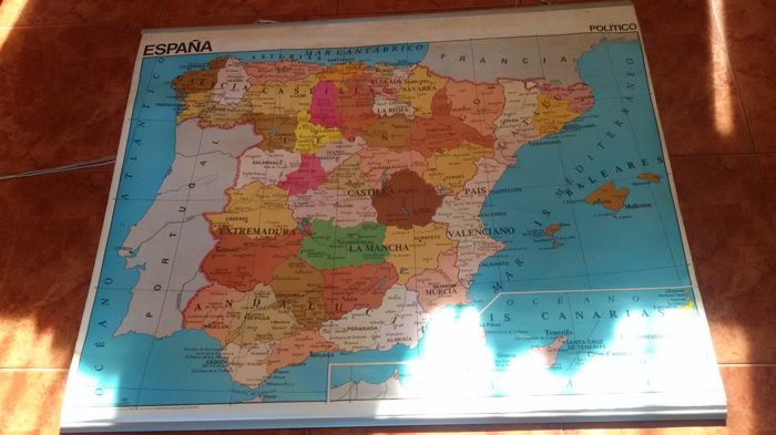 Political Map Of Spain 2017.Spain Physical Political Map Catawiki