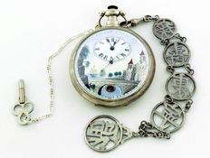 High collection Chinese market pocket watch. Duplex escapement. Circa 1810-1850.