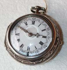 Richard London – silver pocket watch – with fine Repousse silver overcasing
