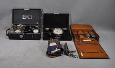 Lot of 5 medical instruments - Oscillophone -Oscillotonometre - Obstetrical - Leather case with instrumental - Oscillograph