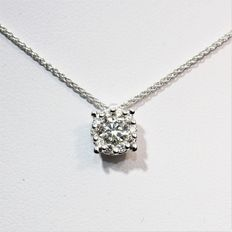 Necklace in 18 kt white gold and diamonds G/VS – 1 ct optical effect