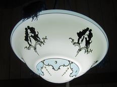 Art Deco ceiling lamp with figures and animals, early 20th century, possibly Czech