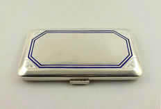 Silver cigarette case with blue and white enamel
