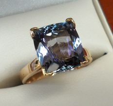 4.58 ct IGI & Tanzanite Foundation Certified Natural Violet Blue Tanzanite in New Designed Ring of 14K Solid Yellow Gold.