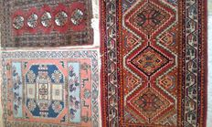 Three beautifully knotted Persian rugs. Please note! No reserve price.
