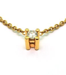 Diamond 0,15 CT G/SI & Yellow 18K Gold Pendant and Chain - Length 39cm