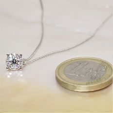 18 kt white gold necklace with diamonds - 1 ct optical effect