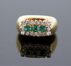 Ring with Emerald 0.99 ct Total and Diamonds 0.82 ct Total