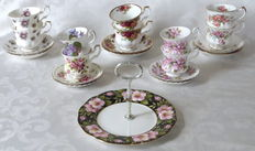 10 Fine Bone China Cup and saucers + 1 tier cake stand