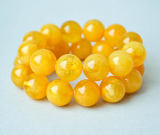 100% natural Two Baltic amber bracelets butterscotch egg yolk amber, 46 gram