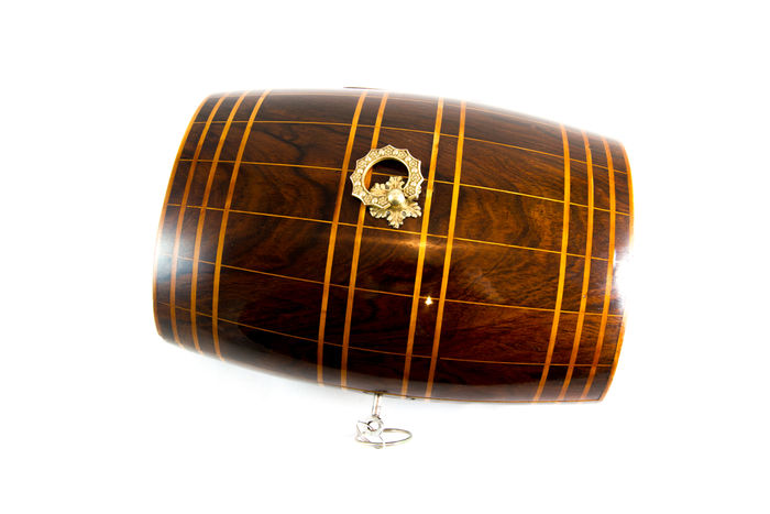 A rare Victorian rosewood and boxwood banded barrel shaped box - circa 1860