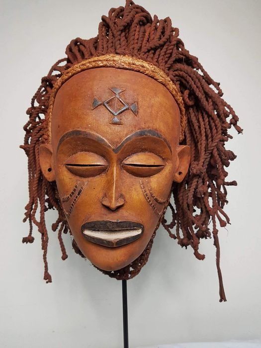 african chokwe masks Chokwe mask male from the congo and angola large mask hand made from solid wood and fiber ceremonial mask traditionally worn to ward off evil spirits.