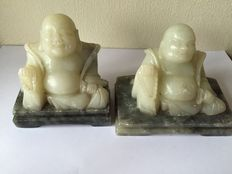 Two soapstone carvings of laughing Buddha - China - 21st century