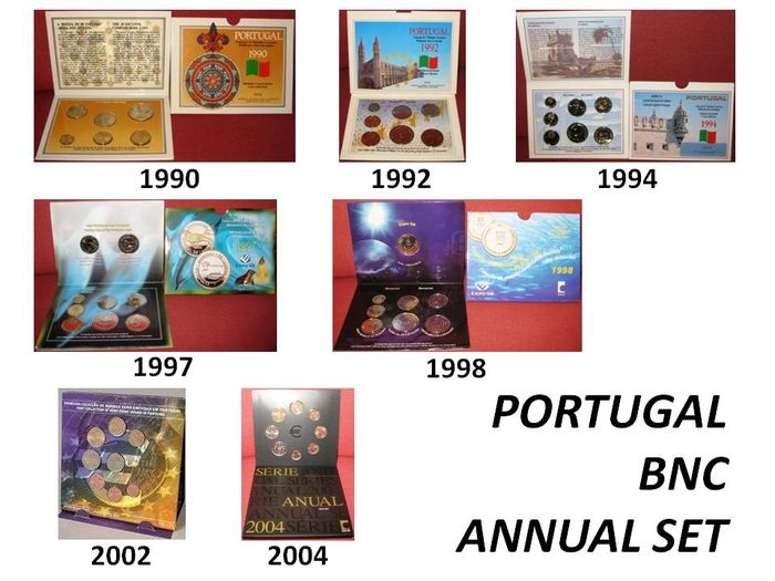 LOT 7 Portugal Official Annual BNC Set - 1990, 1992, 1994, 1997, 1998, 2002, 2004