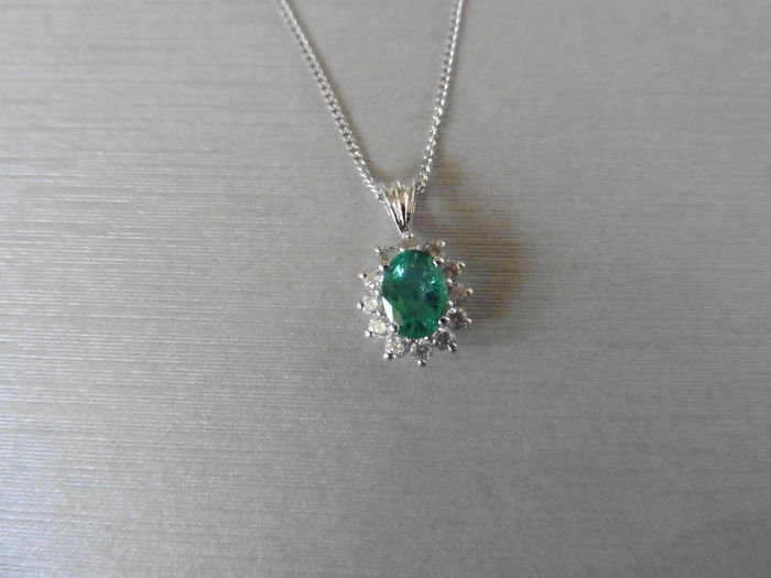 18k Gold Emerald and Diamond Pendant