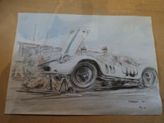 "1 original watercolor / drawing ""Maserati 200 S"" - Francois Chevalier - 30 cm x 21 cm"