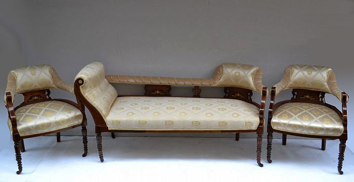 Louis XV style dormeuse with a pair of armchairs - Begin 20th century