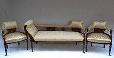 Louis XV style dormeuse with 2 armchairs - end 19th - early 20th C