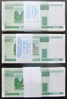 Belarus - 300 x 100 Rublei 2000 (2013+2015+2016) - in 3 original bundles - Pick 26b