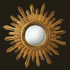 Curved mirror, sunbeam style, golden 32 rays/beams