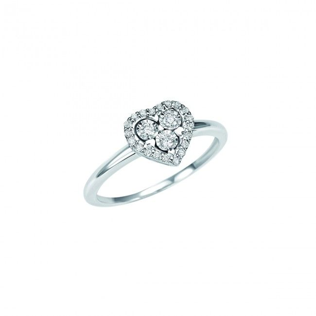 18 kt White gold Bliss ring, heart with diamonds - size 17