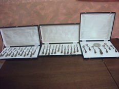 Antique 800 silver set of new cutlery for dessert in vintage box