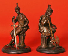 A couple of Victorian bronze statues - England - stamped 1872