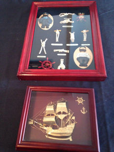 Antique maritime artwork and The Golden Hind in bronze