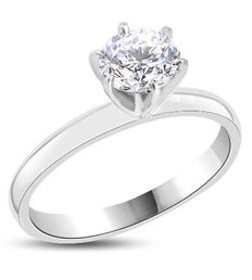 Solitaire engagement ring in white gold, 14 kt, with 1.01 ct diamond D/VS2