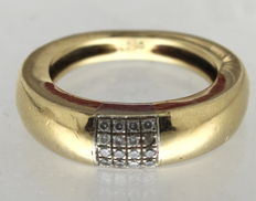 14 kt yellow gold ring set with diamond, Le Chic