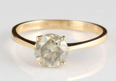 14 Kt yellow gold solitaire diamond ring – 1.00 ct I1