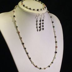 Necklace, bracelet and earrings made with small 1960s cultured freshwater pearls and multicolour tourmalines