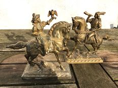 A set of decorative burnished zamak sculptures of falconer Jacoba van Beijeren with hunting-horn player on horseback - first half of 20th century