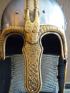 Vikings Helmet with chain mail - steel, brass