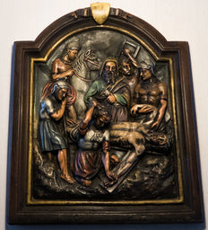 Plaster three-dimensional representation of Jesus nailed on the cross - France -1830/1840