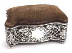 Edwardian silver pin cushion sewing work box, Arthur Cook, Birmingham 1903