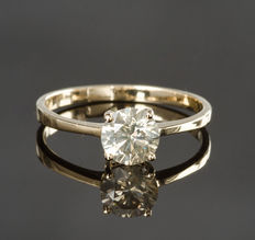 14 Kt yellow gold solitaire diamond ring – 0.80 ct I1