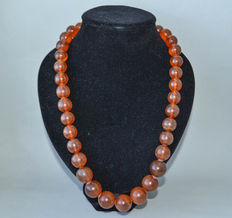Old Baltic amber necklace 100% butterscotch, honey color, 129 grams