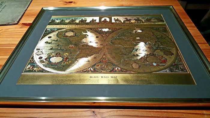 Vintage framed blaeu wall on gold foil map of the old and new vintage framed blaeu wall on gold foil map of the old and new world gumiabroncs