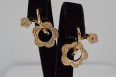 "Pasquale Bruni – yellow gold earrings ""Flower"" diamonds"