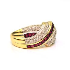 Diamond 0,60CT & interlaced square Rubies 0,80CT on 18Karat Yellow Gold Ring