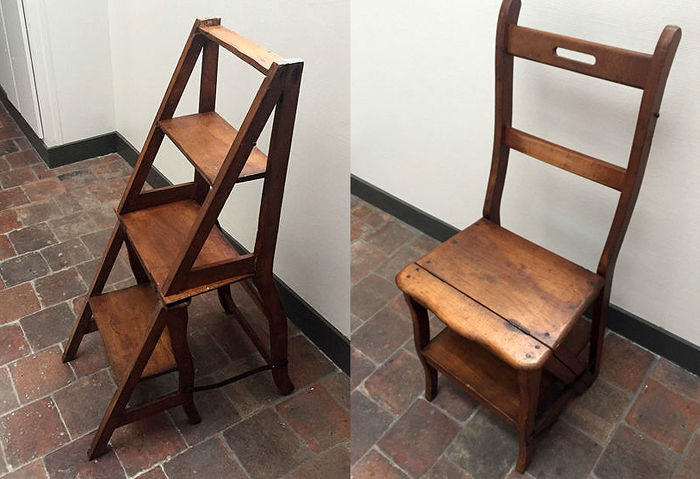 Antique library chair / stepladder - wood - early 20th century - France - Antique Library Chair / Stepladder - Wood - Early 20th Century - France