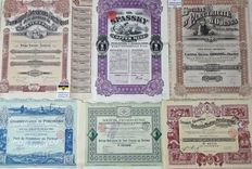 Six decorative share certificates of the Russian Empire - Mines, tramways and electricity