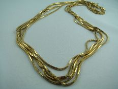 5 strand designer necklace made of rolled gold from Grosse Germany circa 1960