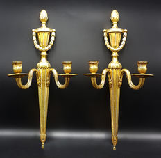 A pair of Empire style bronze-plated appliques - Spain - ca. 1920