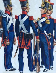 "Funcken - original Illustration in gouache (p.47) for ""L'Uniforme & les Armes des soldats du 19e siècle vol.1"" - (1981)"