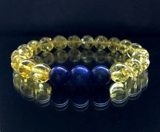 Bracelet  with natural Baltic amber and Lapis lazuli beads 10-10.5 mm in diameter