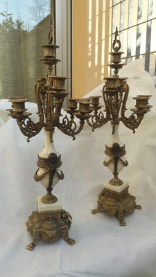 A pair of large (75 cm) white marble and bronze candelabras - France - approx. 1880
