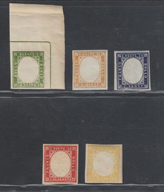 Kingdom of Italy, Sardinia, 1855-1861 – Fourth issue – Series of 5 stamps without portraits.